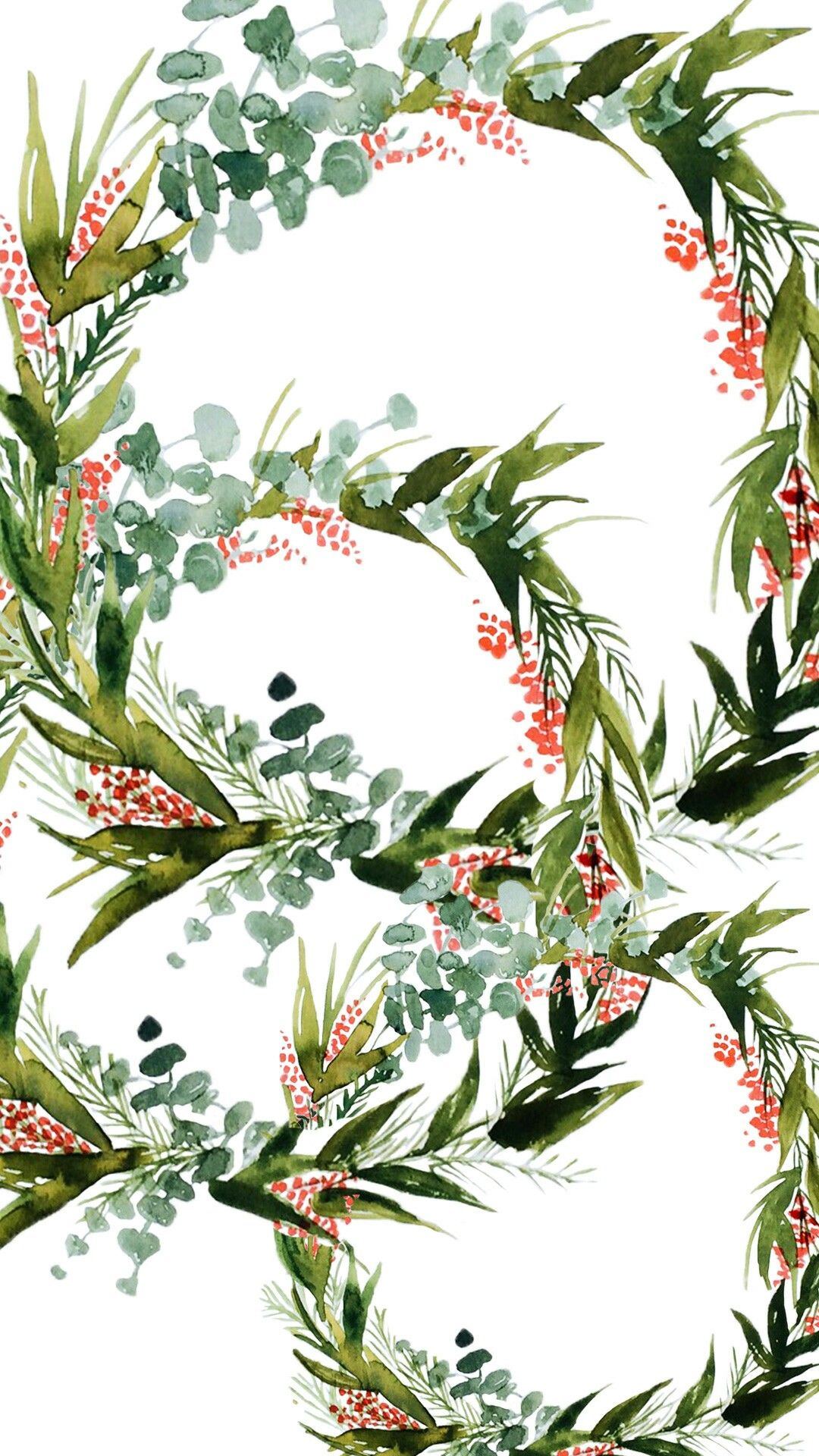Free Winter Wallpaper Or Background Love The Watercolor Holly Wreaths Christmas Iphone Wallpaper Winter Wallpaper Iphone Christmas Christmas Phone Wallpaper