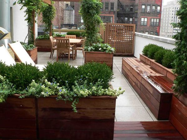 Cool Relaxing Terrace Design In Natural Wood And Lots Of Green : Relaxing Terrace Design With Wooden Chair Table Plant Pots Stone Floor And Wall Color With Skyline View