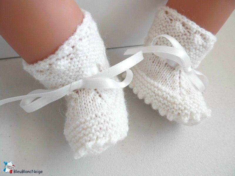 chaussures de séparation 01c7a 764e8 Chaussons bebe 03 mois, tricotes main, BLANC, pour BB mixte ...