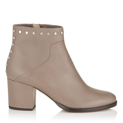 JIMMY CHOO MELVIN 65 Light Mocha Smooth Leather Ankle Boots with Studs Trim.  #jimmychoo