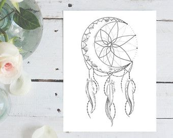 Lotus Car Coloring Pages : Moon dream catcher coloring page instant download print your own