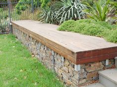 gabions for garden seat - could be done around raise beds for easy garden access.