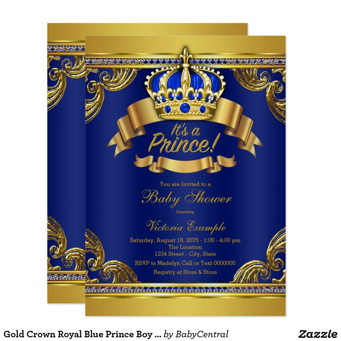 Gold Crown Royal Blue Prince Boy Baby Shower Invitations | Little ...