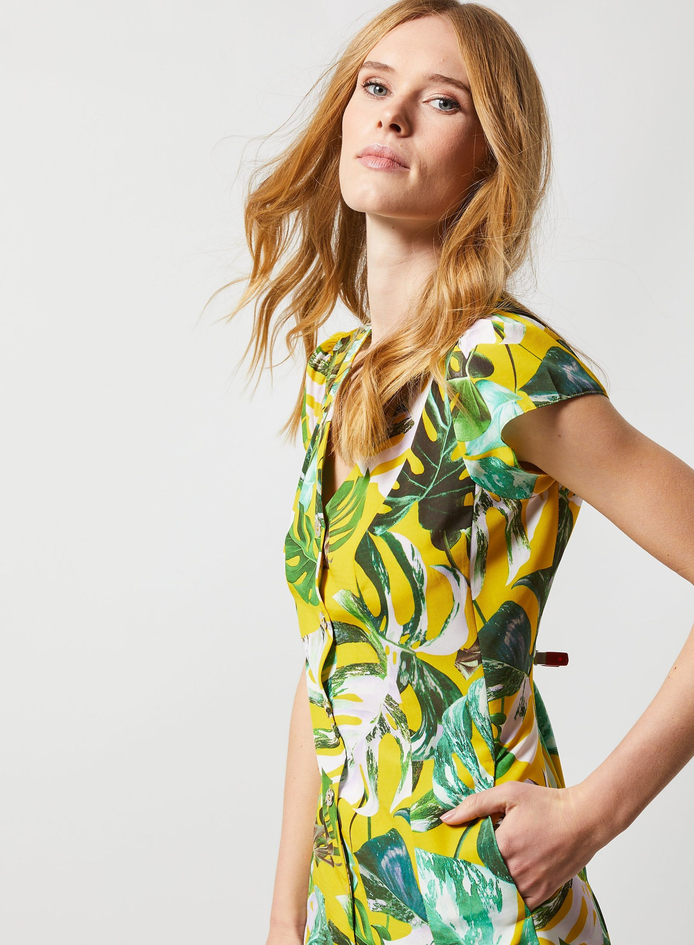 5abf5d2ecd4c6 Yellow Leaf Print Shirt Dress in 2019 | JRC IN-STORE 2019 | Printed ...