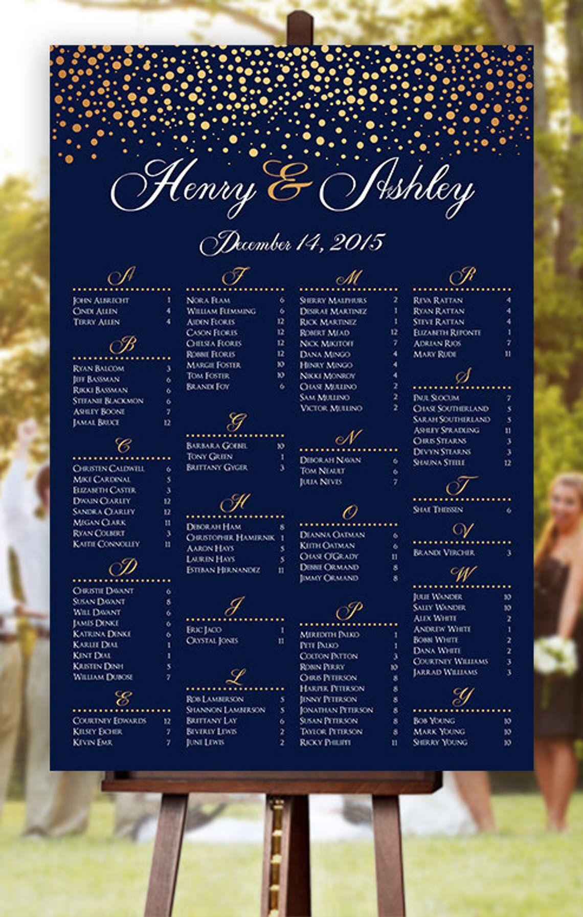 Wedding Seating Chart RUSH SERVICE Gold Polka Dots Etsy