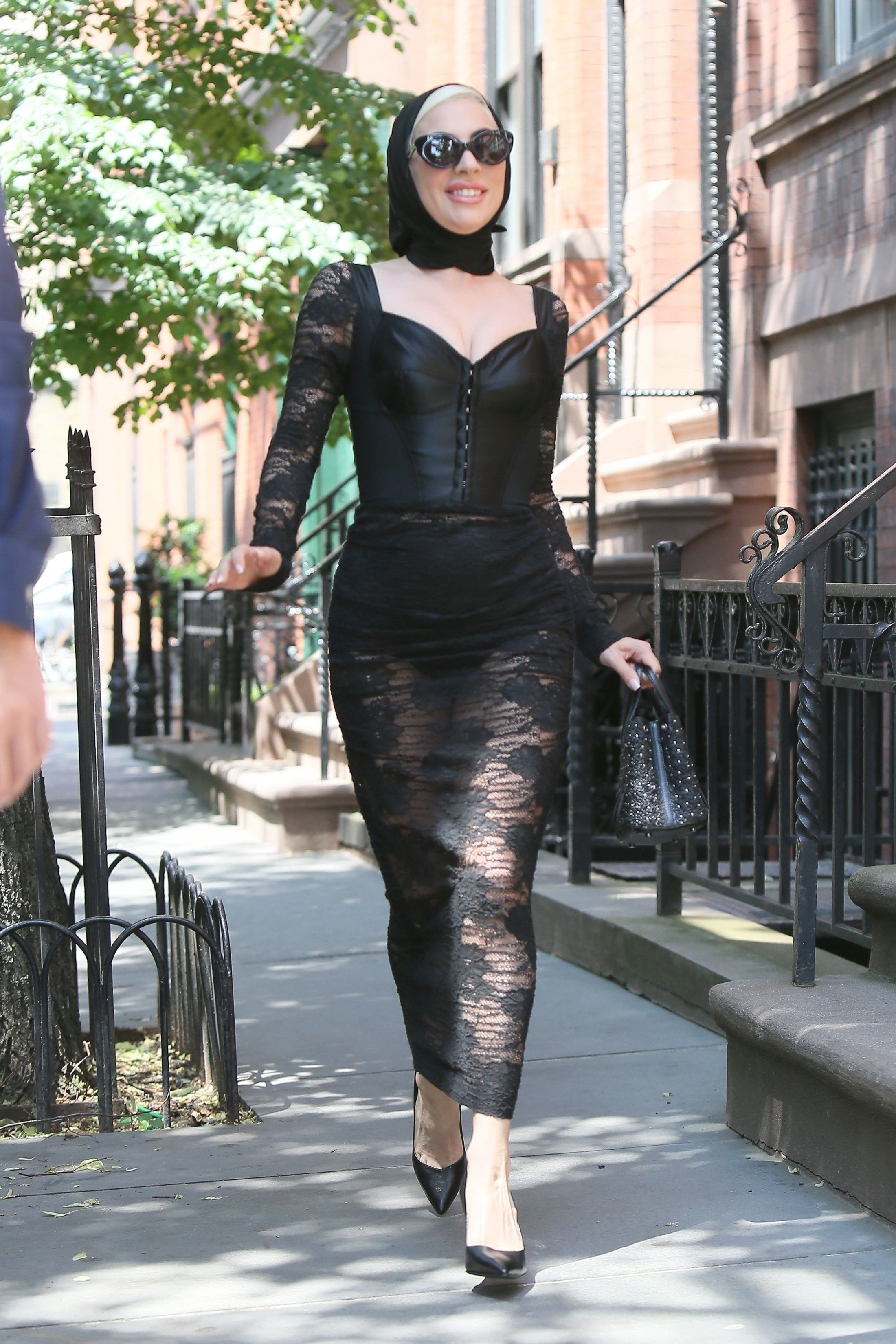 Lady Gaga Wearing Black Sheer Dress While Leaving Her House And Heading To Electric Lady Sound Studio In Lady Gaga News Lady Gaga Fashion Lady Gaga Pictures