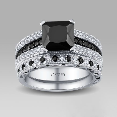 Black And White Cubic Zirconia 925 Sterling Silver Womenu0027s Wedding Ring Set/Bridal  Set Gothic Wedding Ring