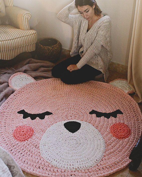 Alfombra infantil de trapillo modelo teo cabeza de oso por for Modelos de alfombras