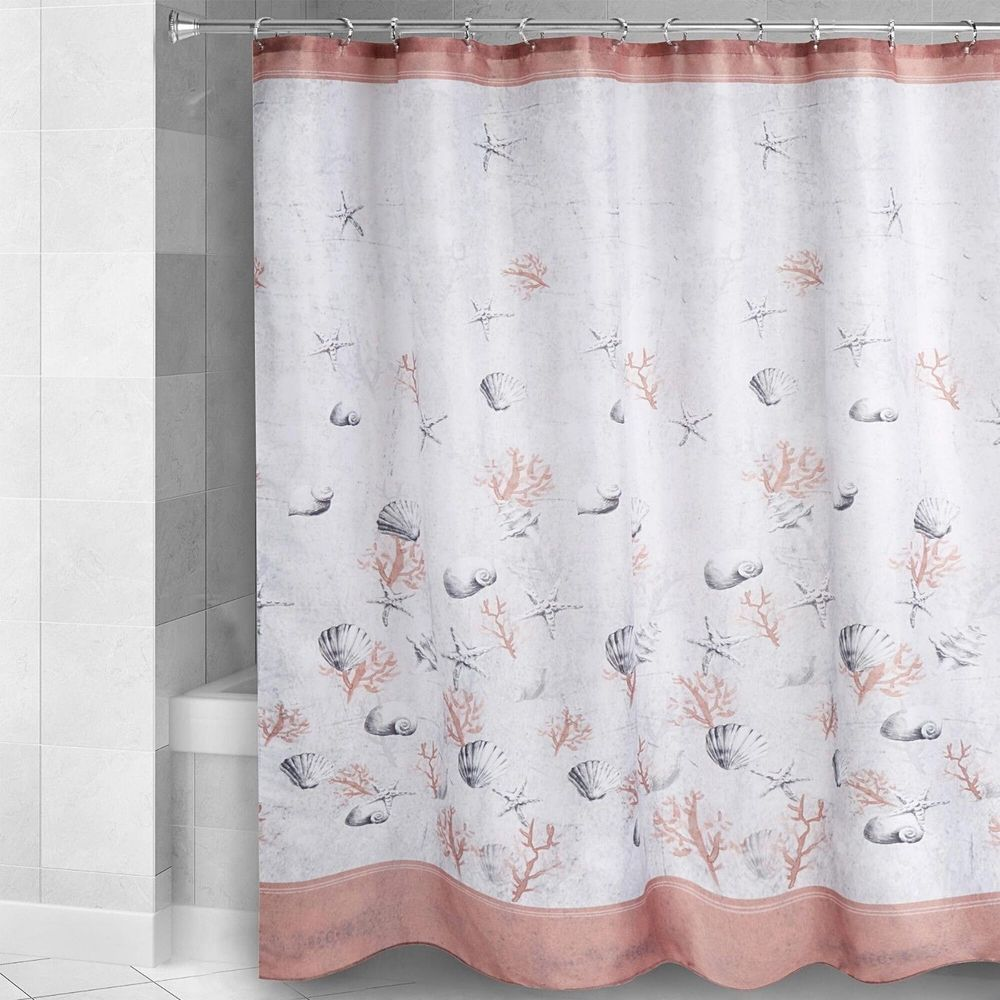 Traditions Dana Point Shower Curtain Nautical Starfish Shells Coral Gray Beach Traditions Nautical Coastal Curtains House Printed Shower Curtain