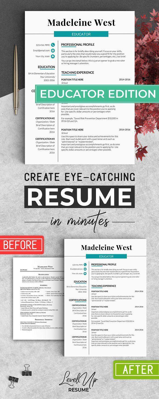 Resume Templates & Design : Educator RESUME Template Teacher CV ...