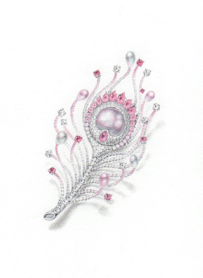 Pink peacock feather brooch pencil and water color · jewelry drawingjewelry sketchjewellery