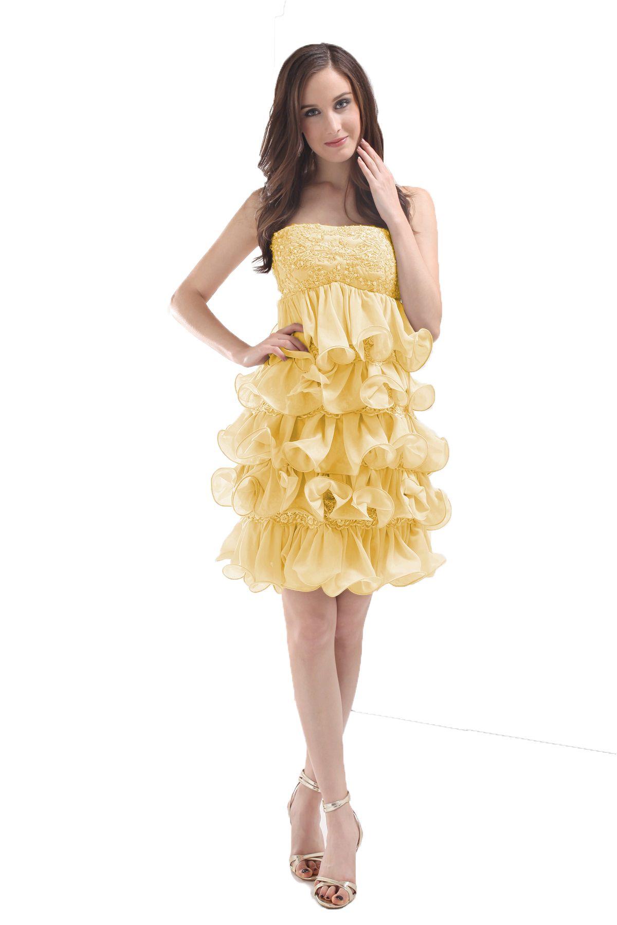 Yellow organza ruffle prom dress womenus dress pinterest