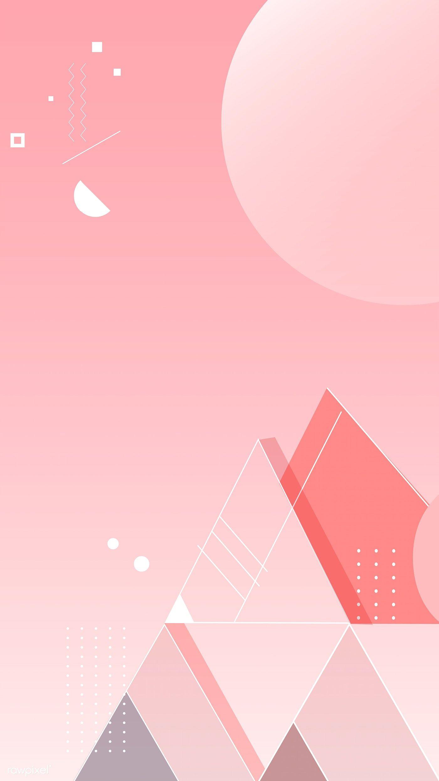 Download Premium Vector Of Flower Elements On A Pink Background Vector Prints Pink Background Iphone Background Wallpaper