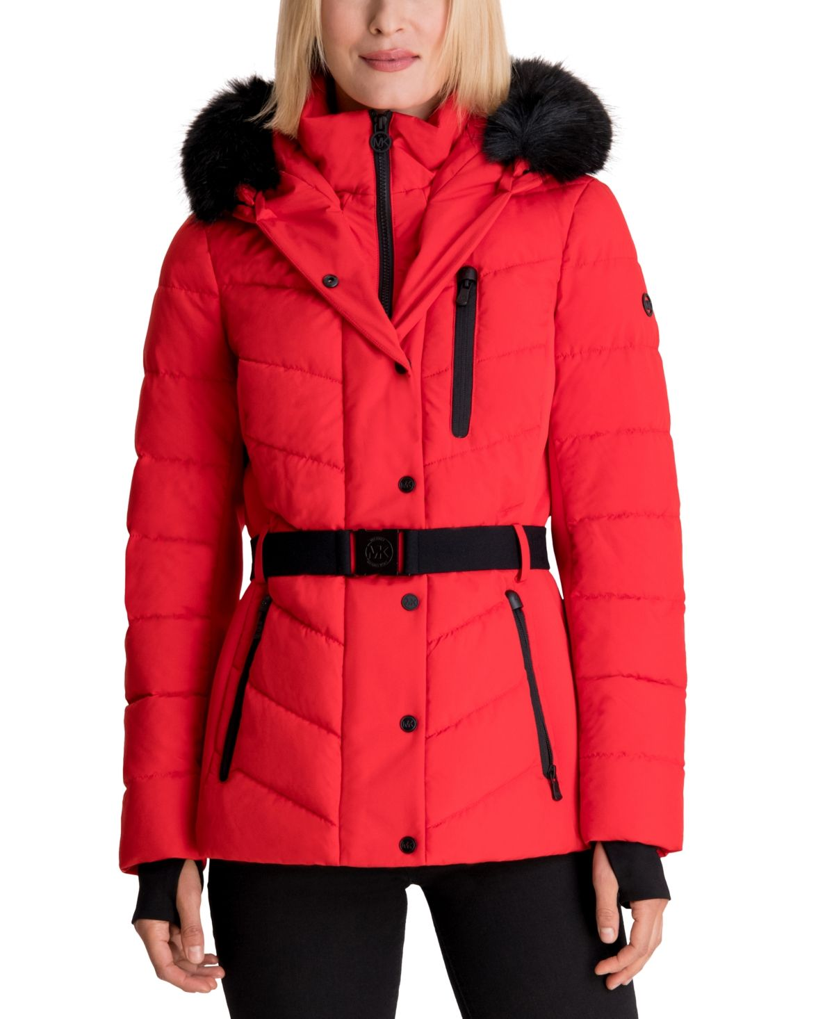 Michael Michael Kors Belted Faux Fur Trim Hooded Puffer Coat Red Puffer Coat Ski Coats For Women Womens Ski Coat [ 1466 x 1200 Pixel ]