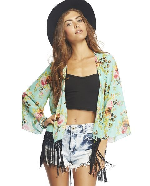 """<p>Fresh from the garden is this blooming floral kimono. Features include sheer woven body, crochet fringe at hem, relaxed fit sleeves, and finished edges. This is a wardrobe staple for all the fun gypsy boho girls out there!</p>  <p>Model is 5'9"""" and wears a size small</p>  <ul> <li>100% Polyester</li> <li>Hand Wash</li> <li>Imported</li> </ul>  <p></p>"""