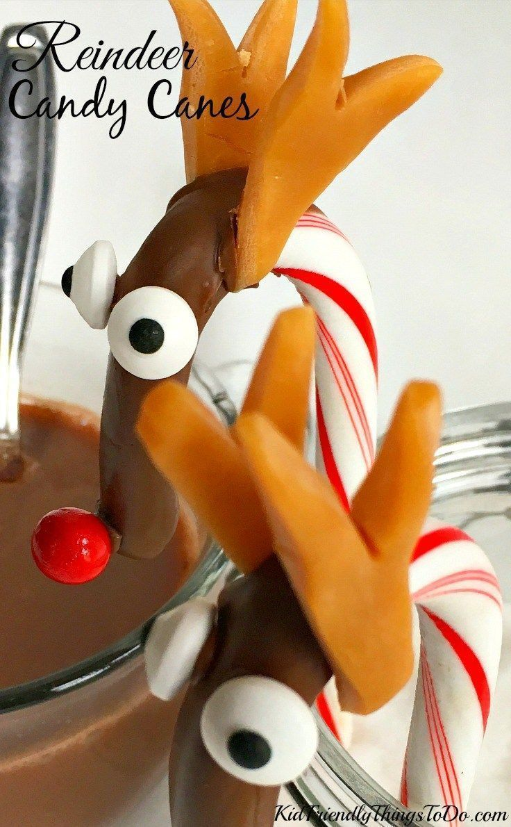 chocolate covered candy cane reindeer treat kid friendly things