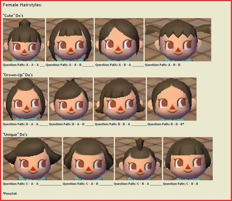 Animal Crossing City Folk Hair Color Guide 162161 Hair Color Guide Animal Crossing City Folk Animal Crossing Hair Guide Animal Crossing Hair Animal Crossing