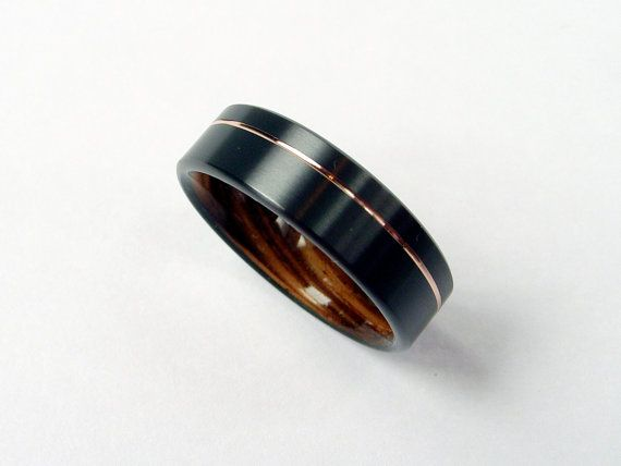 Wood Ring in Black Zirconium with Zebrawood and 14k Rose Gold