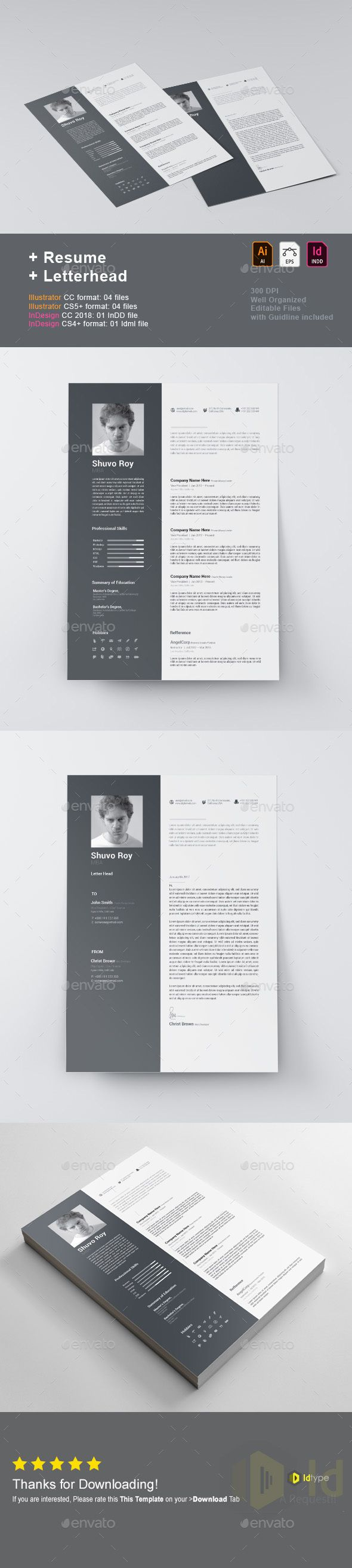 Resume Template Vector Eps Indesign Indd Ai Illustrator Resume