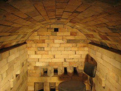 Wood/Biodiesel/Soda Kiln, 35cu ft built in 2012 by James Tingey and Jesse Jones. PLEASANT HILL POTTERY, OR
