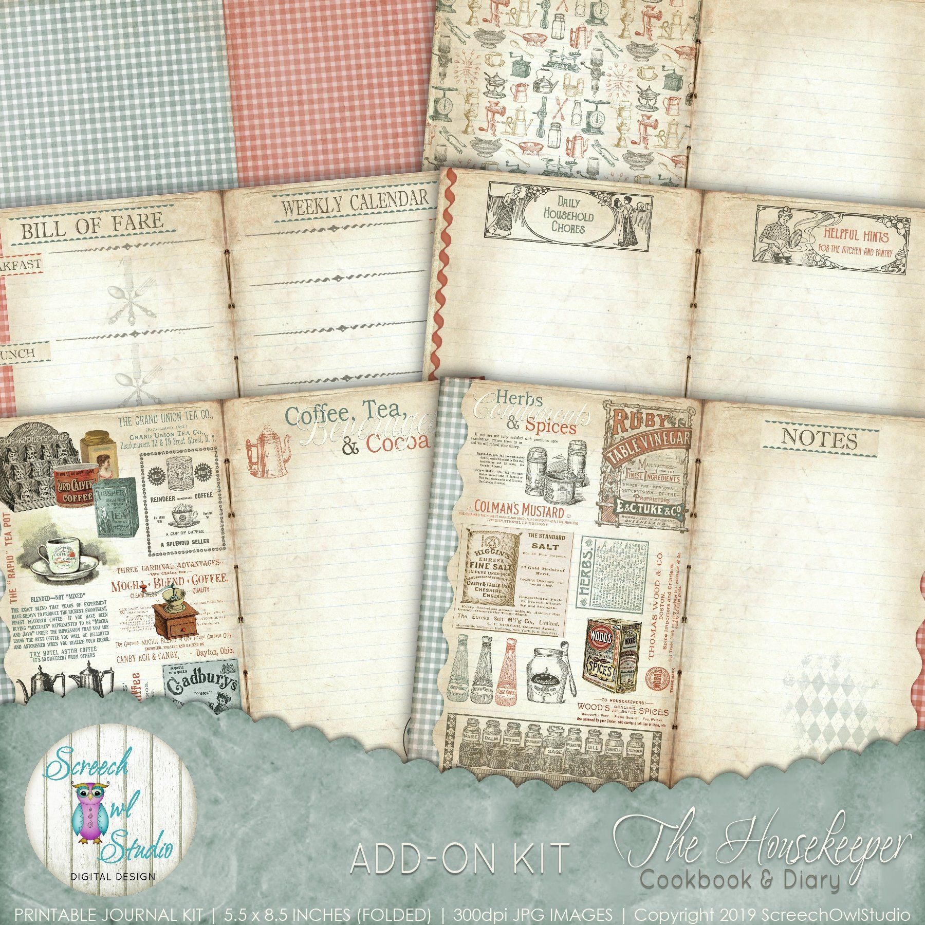 Vintage Recipe Book Digital Recipe Journal 5 5 X Etsy Paper Craft Supplies Vintage Recipes Paper Crafts