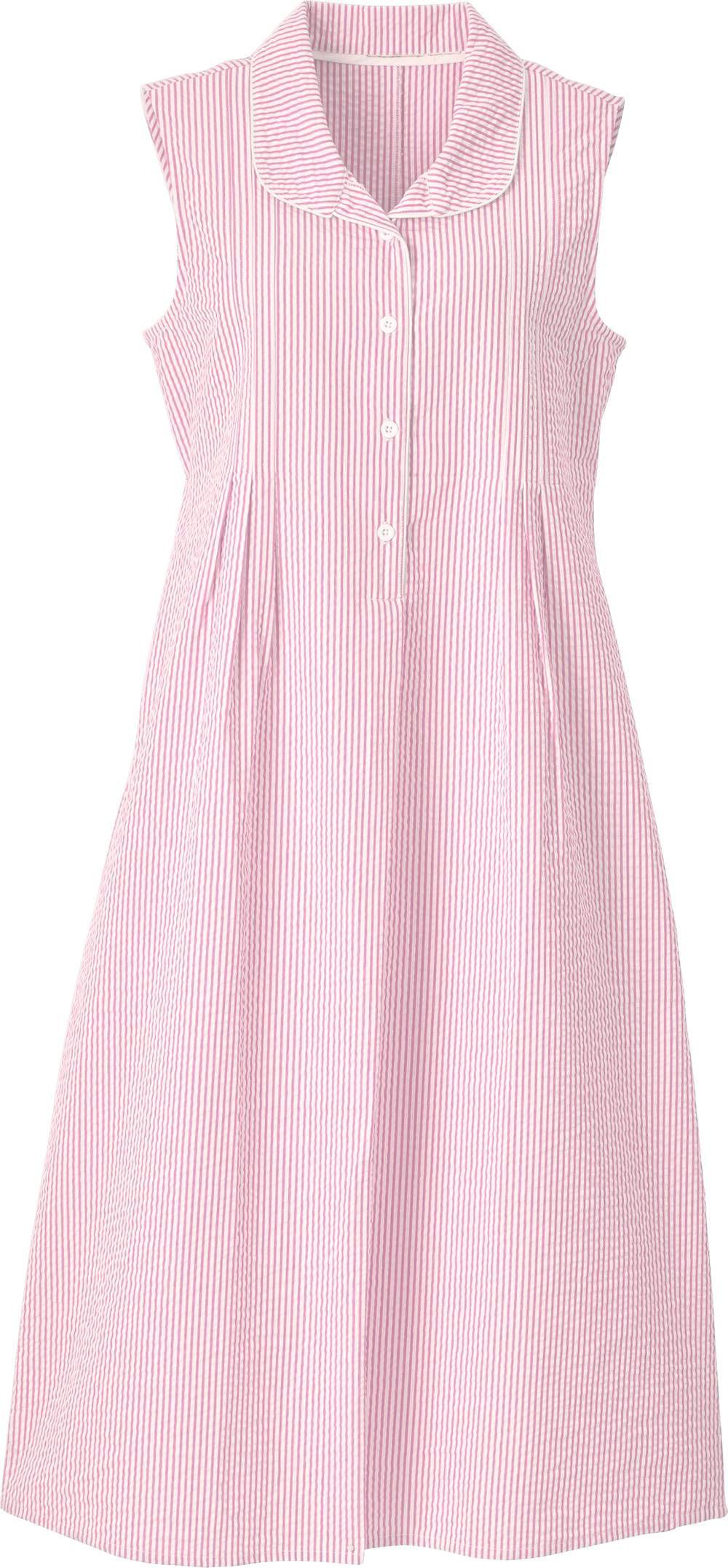 Sleeveless Seersucker Nightgown With Button Placket | Nightwear ...
