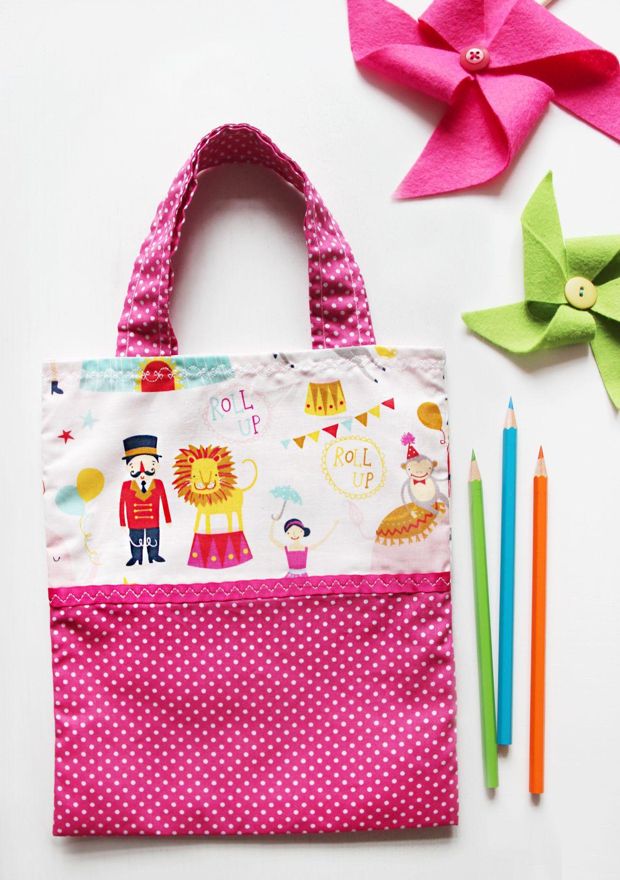 Kinderbeutel / Stoffbeutel für kleine Mädchen <3 mit Zirkusmuster #naehfein #kinderbeutel #stoffbeutel
