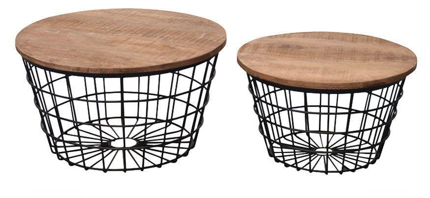 2er Set Couchtisch Adele Rund Metallkorb Stauraum Beistelltisch Sofatisch Neu Mobel Wohnen Mobel Tische Ebay Sofa Tisch Couchtisch Korb Couchtisch