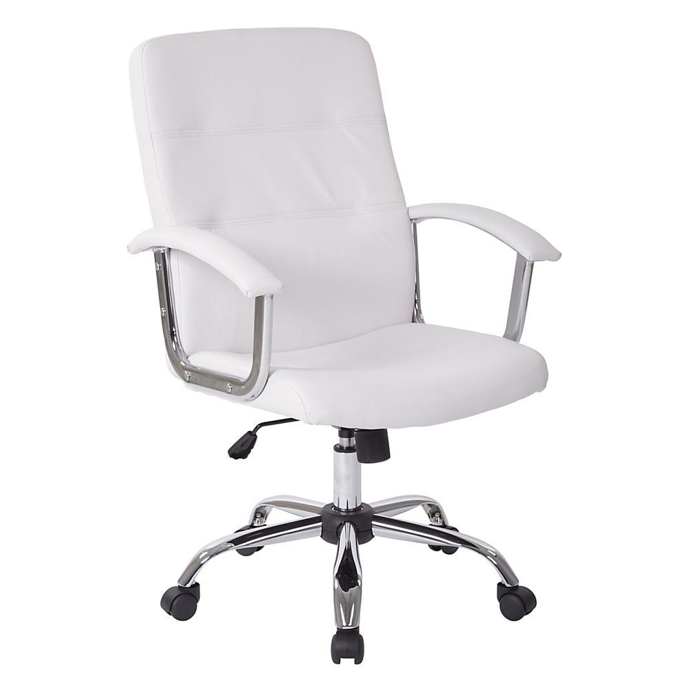 Office Star Avenue Six Malta Vinyl Mid Back Chair White Silver Item 991667 White Office Chair Osp Home Furnishings White Contemporary Desk