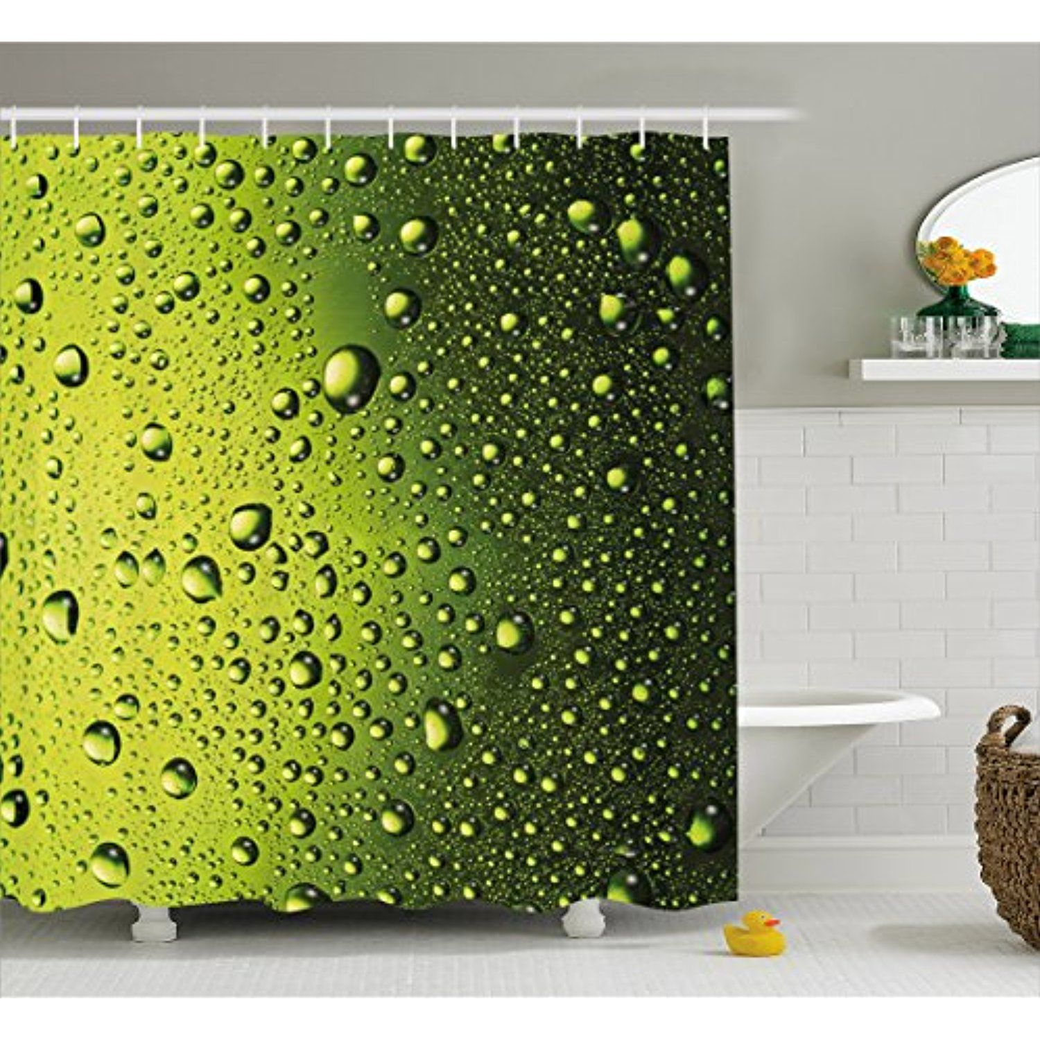 Hunter Green Shower Curtain By Lunarable Water Drops On The