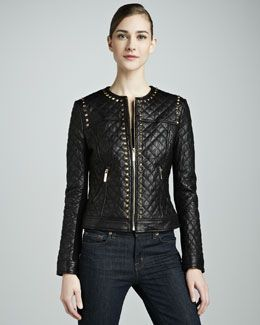 T6RWV Neiman Marcus Golden Studded Quilted Leather Jacket ... : neiman marcus quilted leather jacket - Adamdwight.com
