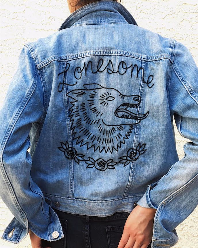 b6c459810e lone wolf ~ custom embroidery on a levi s denim jacket