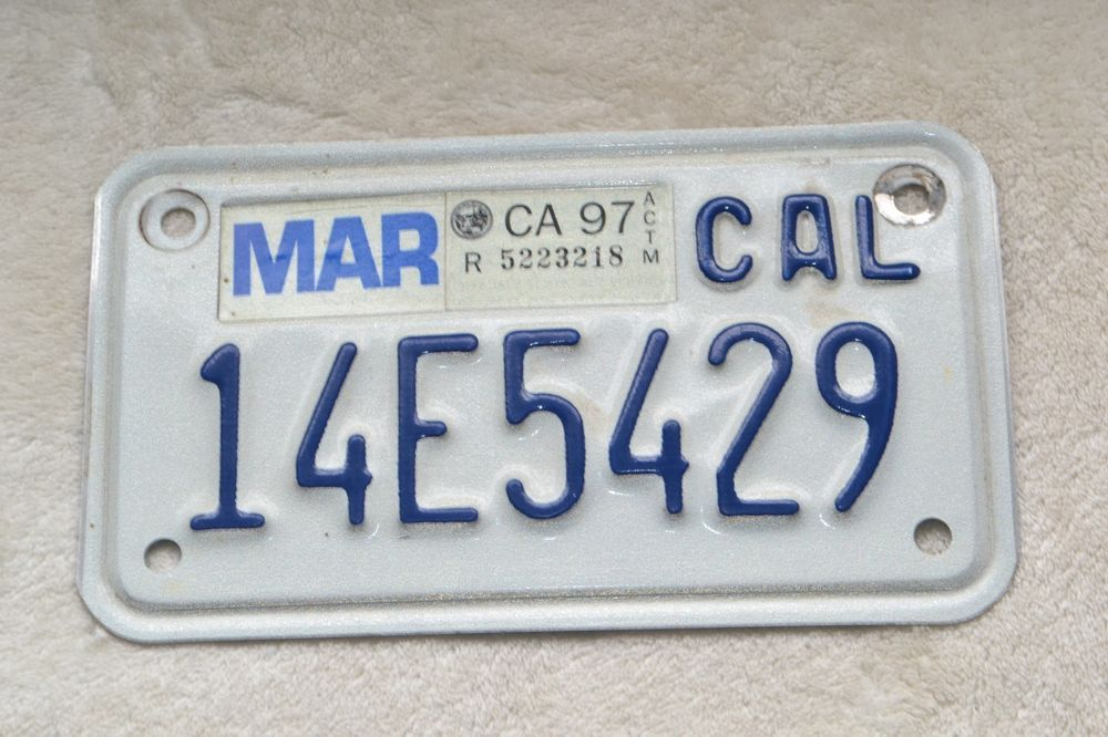 1990\'s California Motorcycle License Plate 14E5429 CA97 Vintage ...
