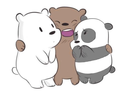 Osos bebés kawaiis. Pardo abrazando a Polar y a Panda, Panda ...