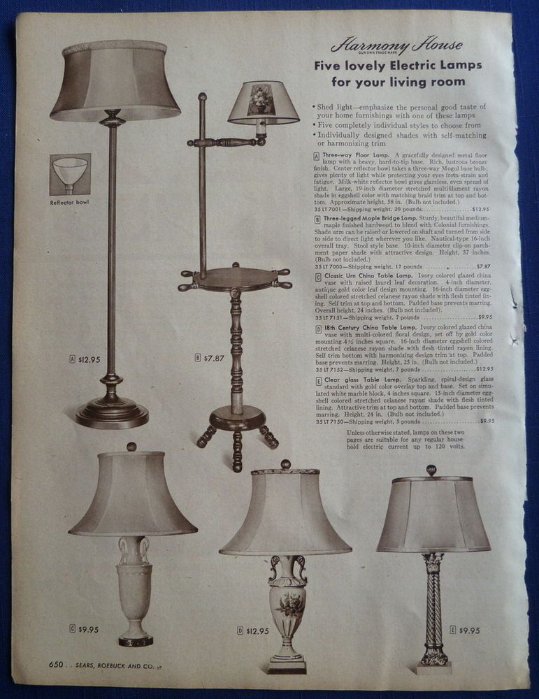 Lamps Shades Light Fixtures Home Decor Vintage 1940s Sears