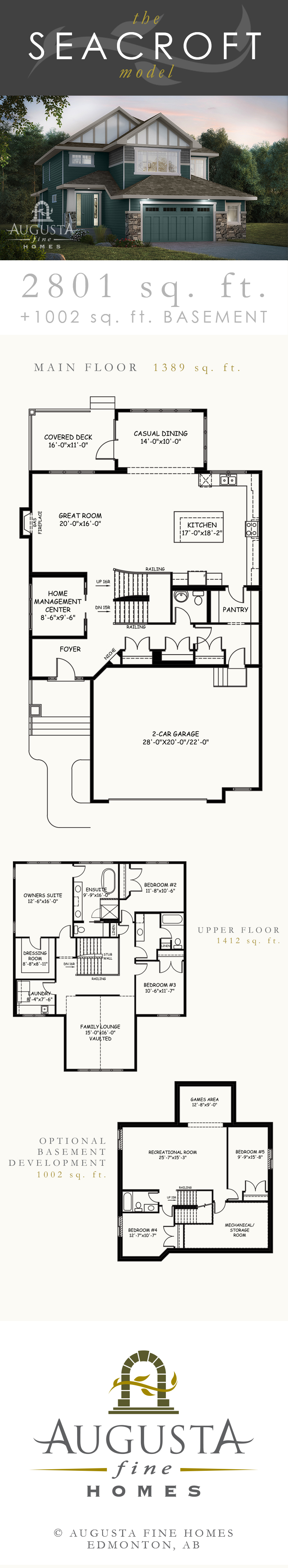 The Seacroft New Home Model By Augusta Fine Homes In Edmonton Alberta Canada Estate Home Layout Custom Floor Plans House Floor Plans Custom Home Builders