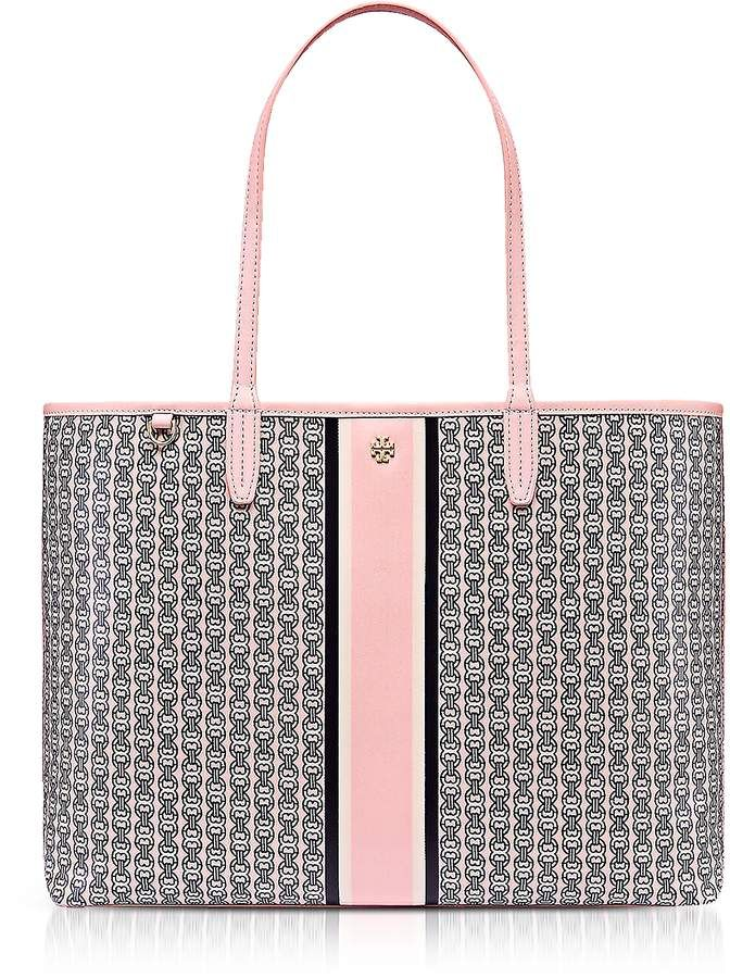 0f6bd3f22618 Tory Burch  Pink Gemini Link Stripe Canvas  Tote  Bag. 2 Years Warranty!  Material Coated Canvas Width 15.35