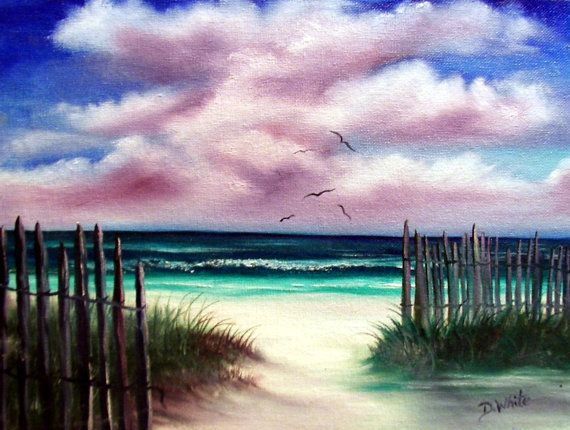 Florida seascape beach original oil painting by Diana by oh2paint, $40.00