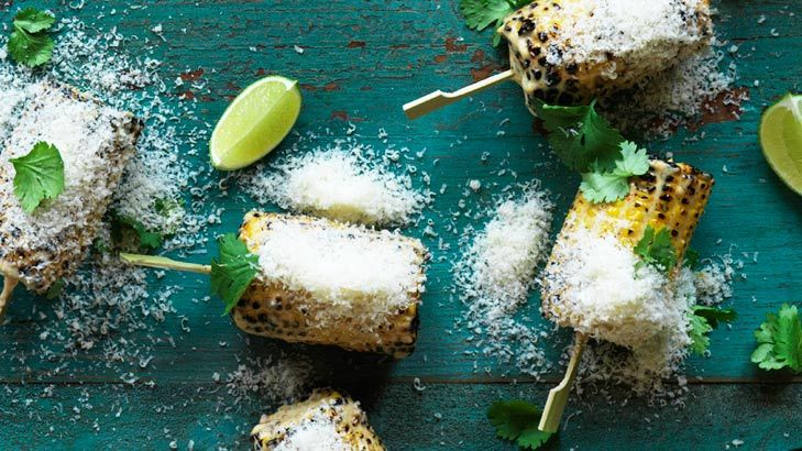 Grilled corn with lime and parmesan.