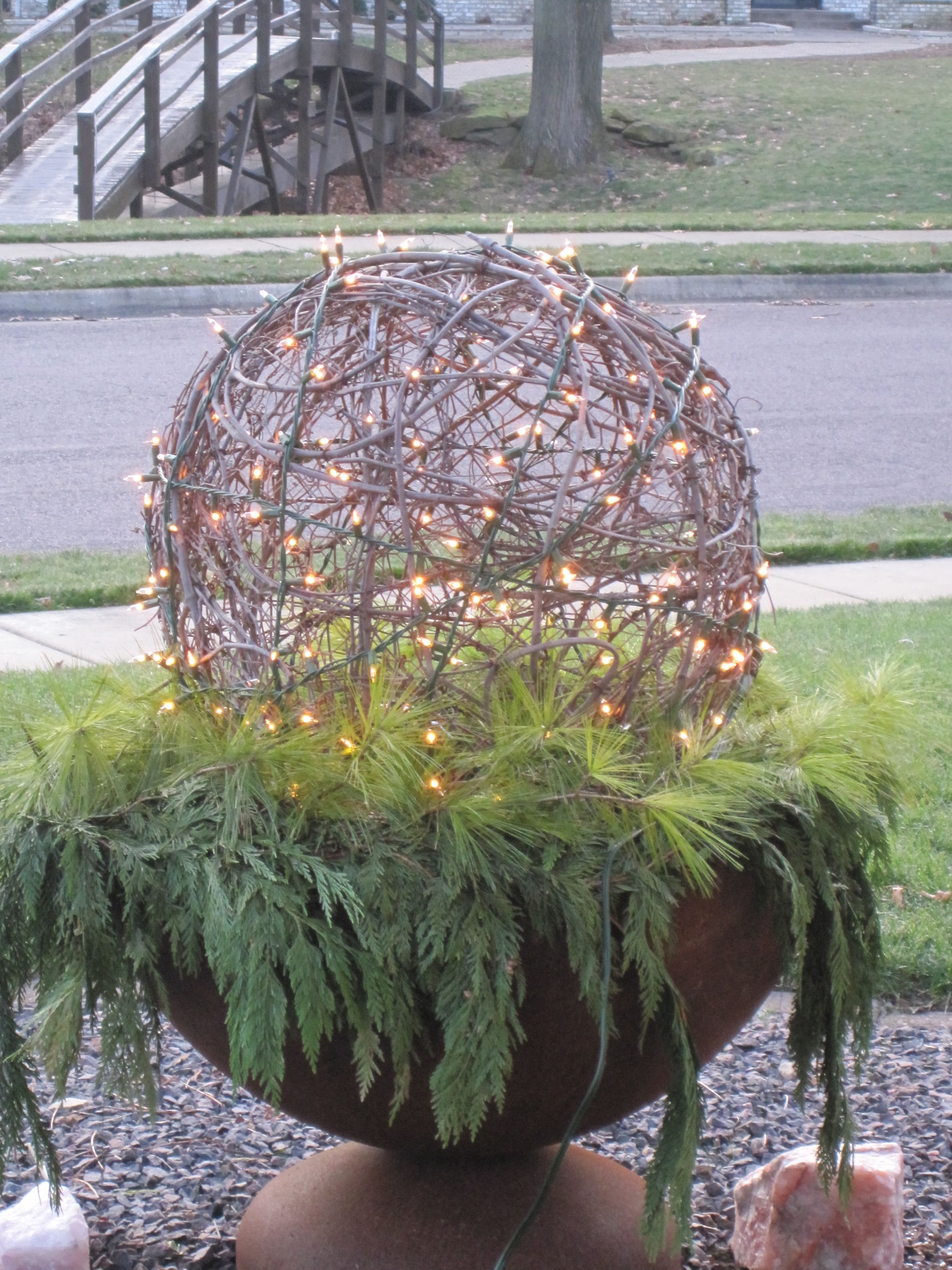 Grapevine Ball With Lights Amp Greens Frugal Christmas