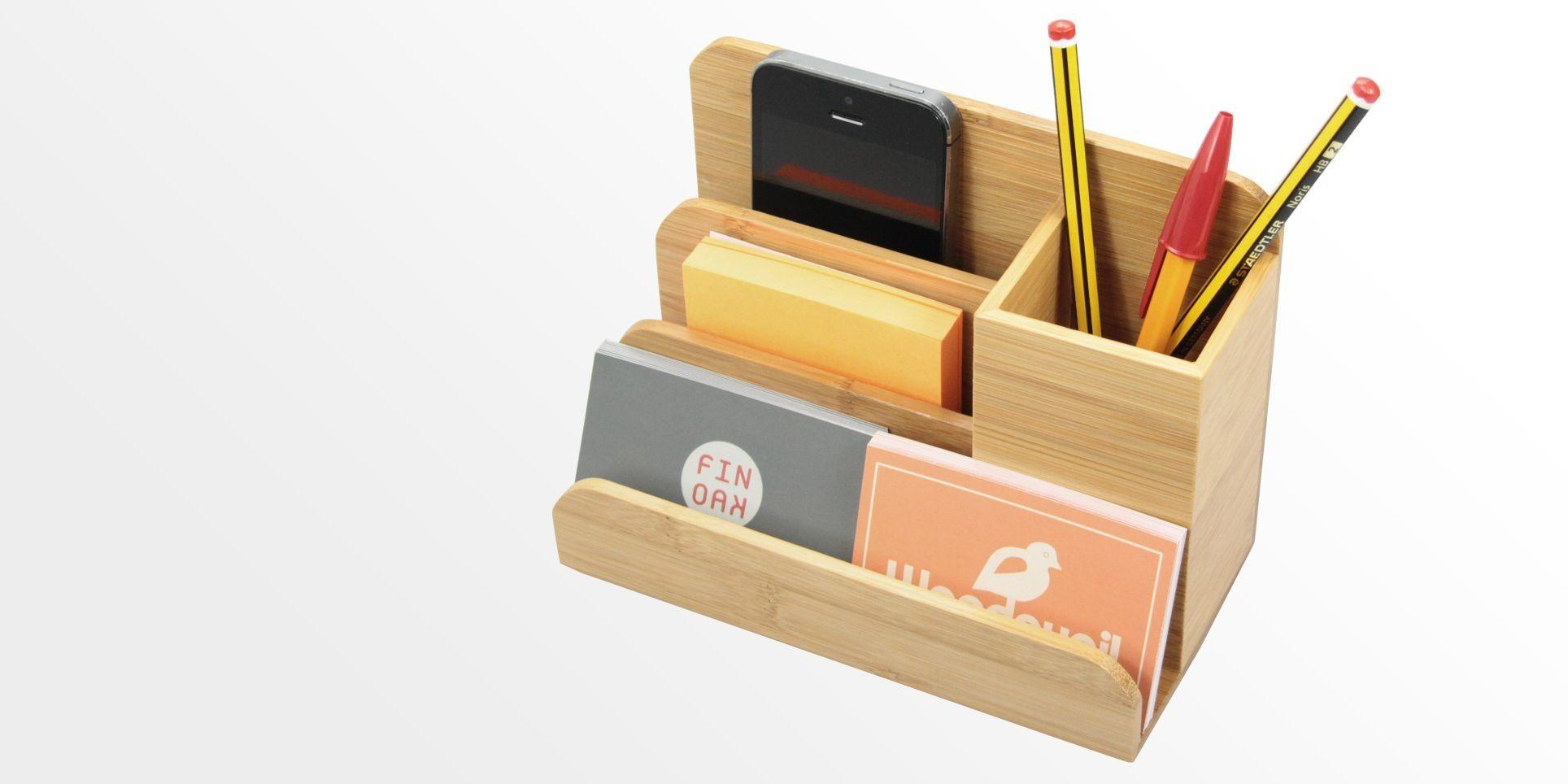 Small Desk Organiser Pen Holder Bamboo Stationery Organiser Office Supplies Desk Organization Pen Holders Pen Holder Diy