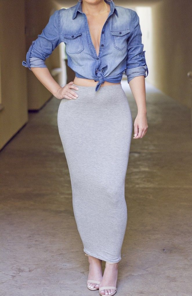 Grey Long Fitted Skirt - Skirts | My Secret Addiction | Pinterest ...
