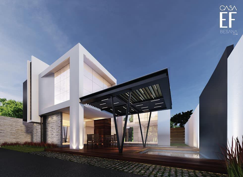 Fachada trasera Casas de estilo minimalista por Besana Studio - casas minimalistas