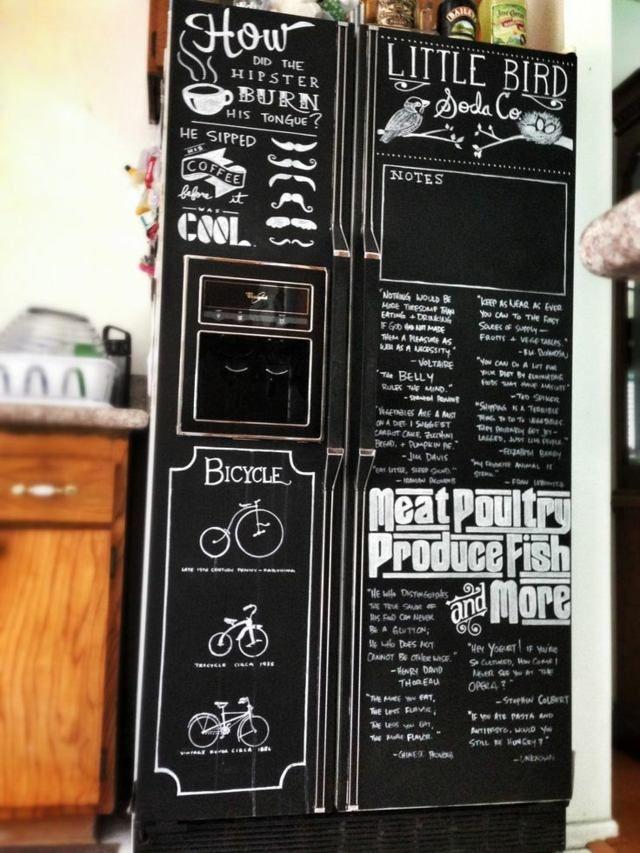 k hlschrank aufpeppen tafelfarbe einkaufsliste schwarz wei e kreide home decoration. Black Bedroom Furniture Sets. Home Design Ideas