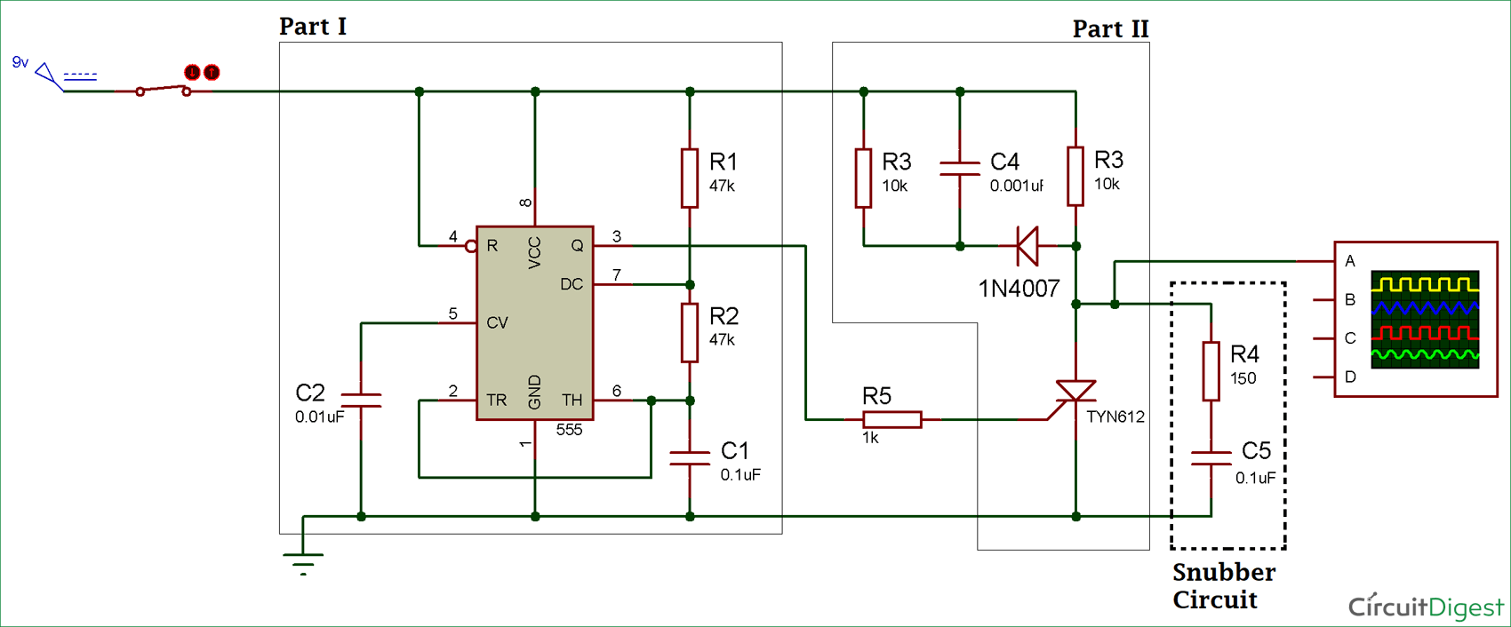 thyristor switching circuit diagram using snubber electronica
