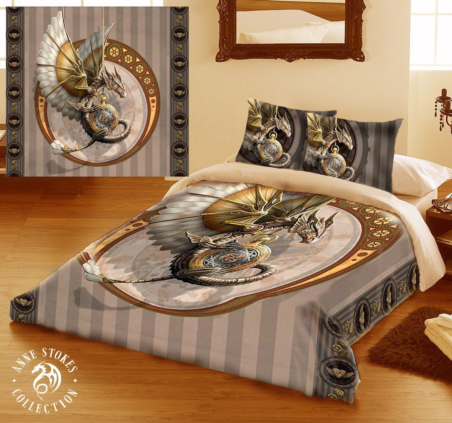 Amazon.com   STEAM PUNK DRAGON Duvet U0026 Pillows Case Covers Set For Double  Bed Artwork By Anne Stokes
