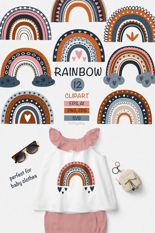 Rainbow clipart Rainbow svg Scandinavian clipart Modern ...