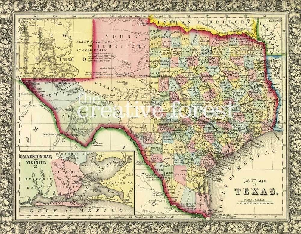 MAP OF TEXAS 1863 Vintage State Map Reproduction Rolled CANVAS PRINT 30x24 in.