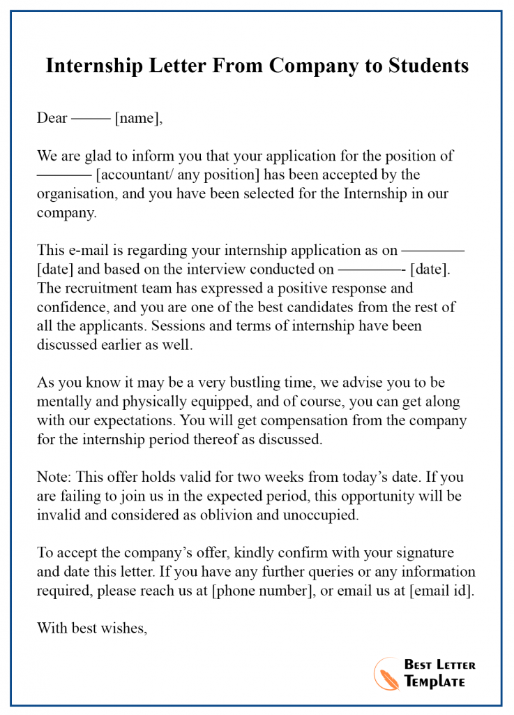Internship Acceptance Letter Template Format, Sample