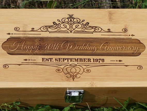 Custom 40th Anniversary Gift Box For Wedding Wine Ceremony Personalize Engraved